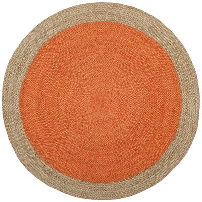 Greenwich Fiber Hand-Woven Orange/Natural Area Rug Rug Size: Round 5