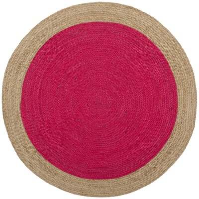 Greenwich Fiber Hand-Woven Fuchsia/Natural Area Rug Rug Size: Round 5