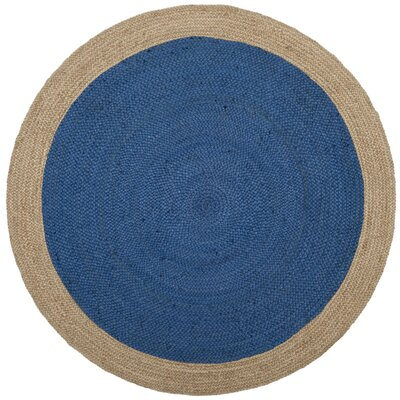Melitta Fiber Hand-Woven Royal Blue/Natural Area Rug Rug Size: Round 4