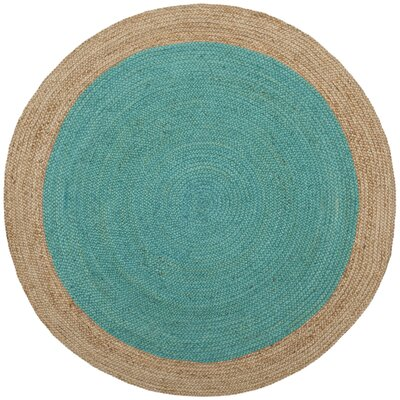Melitta Fiber Hand-Woven Teal/Natural Area Rug Rug Size: Round 3