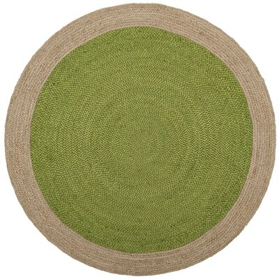 Greenwich Fiber Hand-Woven Green/Natural Area Rug Rug Size: Round 3