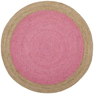 Greenwich Fiber Hand-Woven Pink/Natural Area Rug Rug Size: Round 6