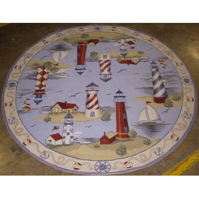 Canfield Lake House Nautical Hand-Hooked Blue Area Rug Rug Size: Round 76