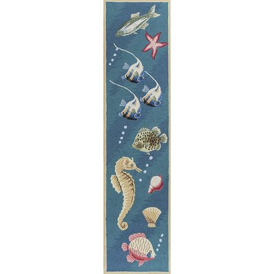 Livia Deep Sea Dives Hand-Hooked Blue Area Rug Rug Size: Runner 2 x 8