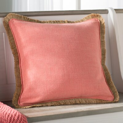Wendell Square Linen Throw Pillow Size: 18 H x 18 W x 4 D, Color: Coral/Beige
