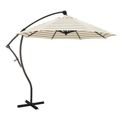 April 9 Cantilever Umbrella Fabric: Olefin - Beige White Cabana Stripe