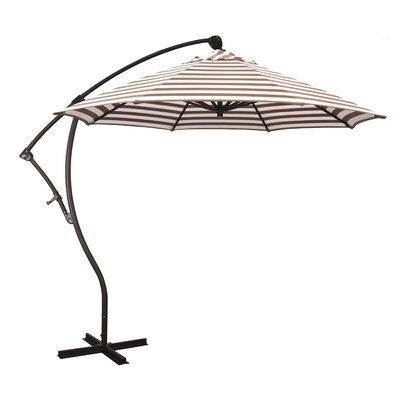 April 9 Cantilever Umbrella Fabric: Olefin - Brick White Cabana Stripe