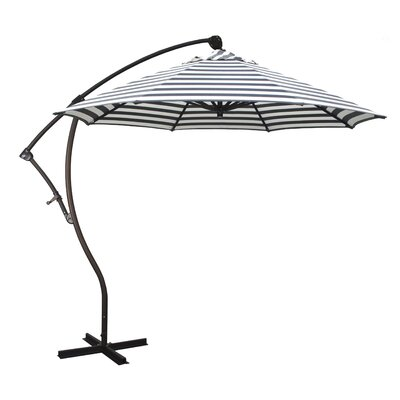 April 9 Cantilever Umbrella Fabric: Olefin - Navy White Cabana Stripe