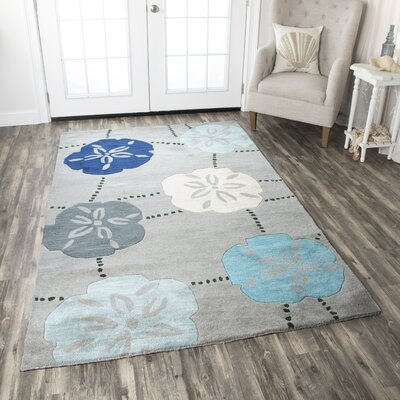Punta Rassa Hand-Tufted Blue Area Rug Rug Size: Rectangle 5 x 8