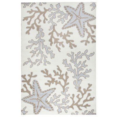 Maryland Hand-Tufted Off White/Tan Indoor/Outdoor Area Rug Size: 3'6