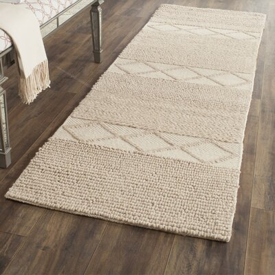 Williston Highlands Beige Tufted Wool Area Rug Rug Size: Runner 23 x 8