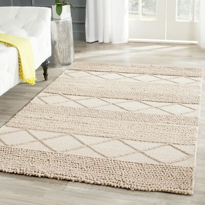 Williston Highlands Beige Tufted Wool Area Rug Rug Size: Rectangle 4 x 6