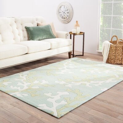 Parkmont Coral Fixation Turquoise Blue & White Area Rug Rug Size: Rectangle 36 x 56