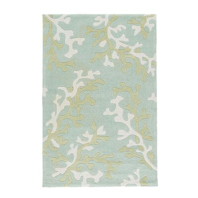 Parkmont Coral Fixation Turquoise Blue & White Area Rug Rug Size: 76 x 96
