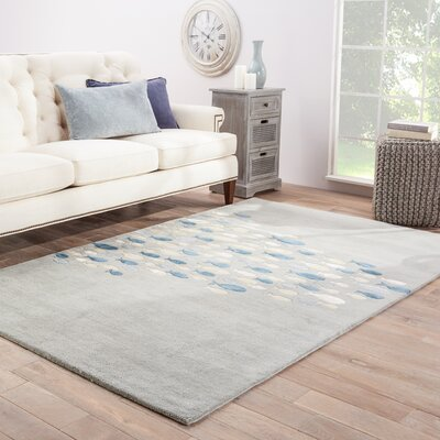 Nottingham Hand-Woven Silk Gray Area Rug Rug Size: Rectangle 5 x 8