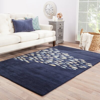 Regan Hand-Tufted Blue/Ivory Area Rug Rug Size: Rectangle 2 x 3