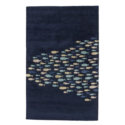 Regan Hand-Tufted Blue/Ivory Area Rug Rug Size: 96 x 136