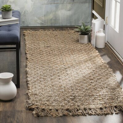 Myrtou Hand-Loomed Natural Area Rug Rug Size: 5 x 8