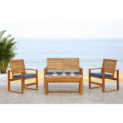 Black Diamond 4 Piece Lounge Seating Group with Cushions Finish: Brown / Navy