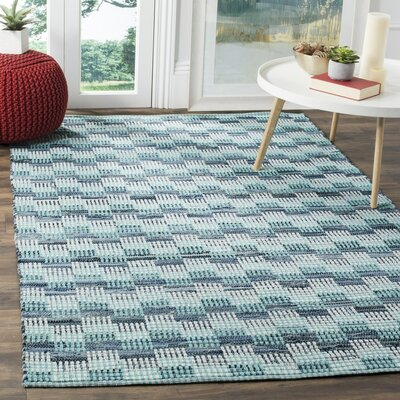 Todds Hand-Woven Turquoise Area Rug Rug Size: 6 x 9