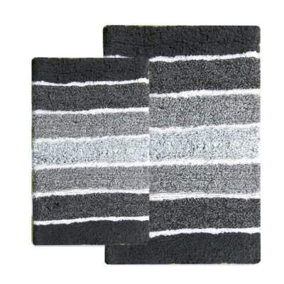 Tenley 2 Piece Cotton Bath Rug Set Color: Gray/Charcoal
