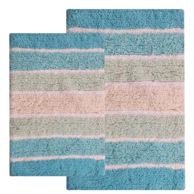 Tenley 2 Piece Cotton Bath Rug Set Color: Turquoise