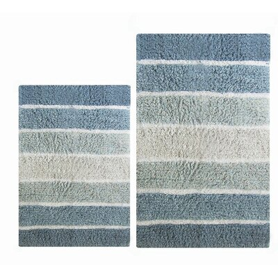 Tenley 2 Piece Cotton Bath Rug Set Color: Blue, Size: 1 H x 21 W x 34 ; 1 H x 24 W x 40 L