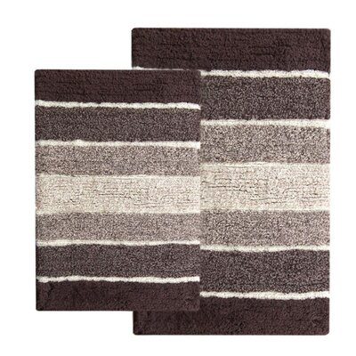 Tenley 2 Piece Cotton Bath Rug Set Color: Brown/Beige