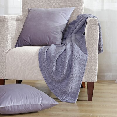 Antonia Checker Throw Blanket Color: Lilac Grey