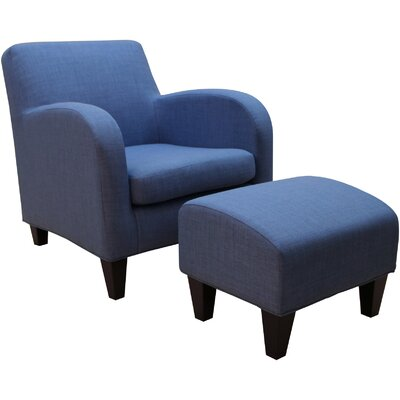 Paddington Armchair and Ottoman Upholstery: Blue Coast
