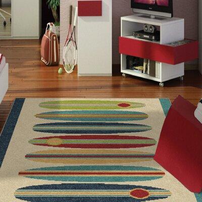 Bettencourt Surfin Blue/Beige Area Rug Rug Size: 52 x 76