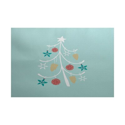 Landsdowne Christmas Blue Indoor/Outdoor Area Rug Rug Size: 4 x 6
