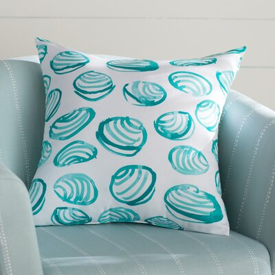Cedarville Clams Geometric Print Throw Pillow Size: 26 H x 26 W, Color: Aqua