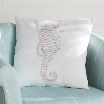 Brookline Seahorse Indoor/Outdoor Throw Pillow Size: 18 H x 18 W x 4 D, Color: Light Brown