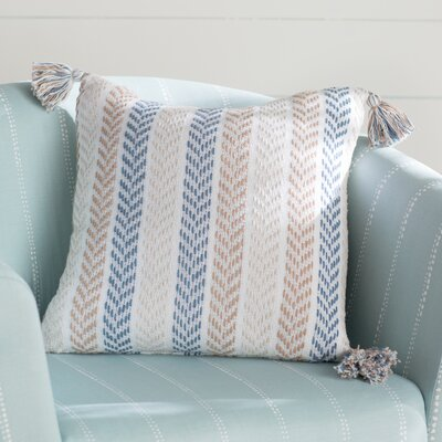 Lockwood Chevron Cotton Throw Pillow Color: Blue/Brown