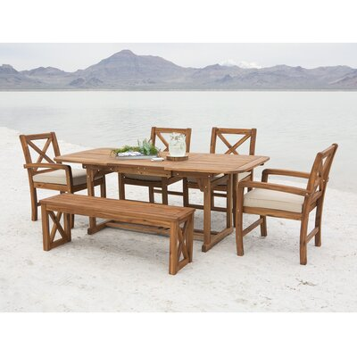 Lamira X-Back Acacia Patio 6 Piece Dining Set with Cushions