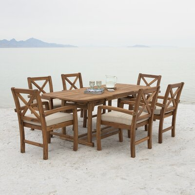 Day X-Back Acacia Patio 7 Piece Dining Set with Cushions
