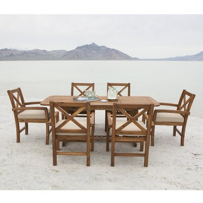 Queensboro X-Back Acacia Patio 7 Piece Dining Set with Cushions