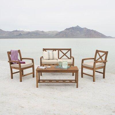 Lamira X-Back Acacia 4 Piece Deep Seating Group with Cushion