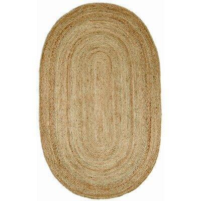 Latham Rigo Jute Hand-Woven Tan Area Rug Rug Size: Oval 5 x 8