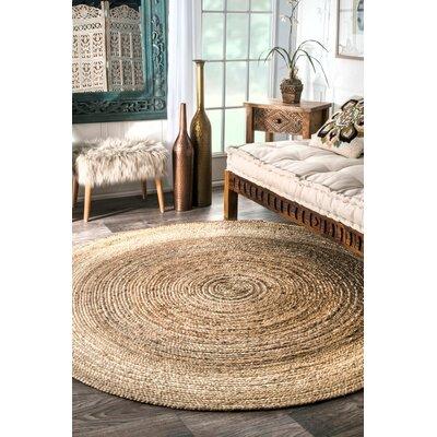Latham Rigo Jute Hand-Woven Tan Area Rug Rug Size: Round 4