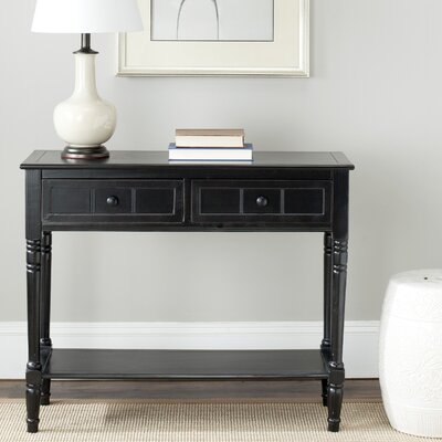 Manning 2 Drawer Console Table Finish: Distressed Black