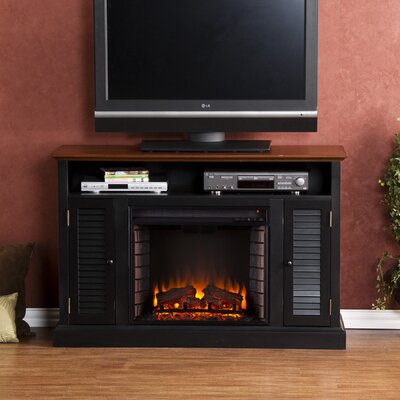 Osmond 48 TV Stand with Electric Fireplace Finish: Black / Walnut