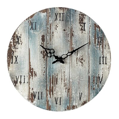 16 Round Wood Wall Clock Finish: Belos Dark Blue