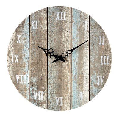 16 Round Wood Wall Clock Finish: Belos Light Blue