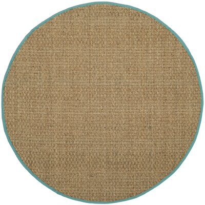 Richmond Natural/Teal Area Rug Rug Size: Round 6