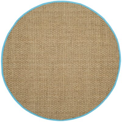 Richmond Natural/Turquoise Area Rug Rug Size: Round 6