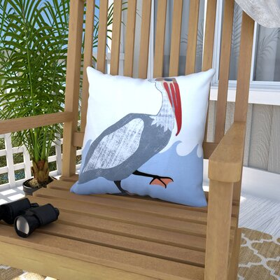 Boubacar Bird Outdoor Throw Pillow Size: 18 H x 18 W, Color: Gray