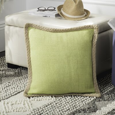 Yorkton Jute Fiber Cotton Throw Pillow Color: Green