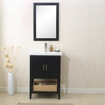 Annabel 24 Single Vanity Set with Mirror Finish: Espresso